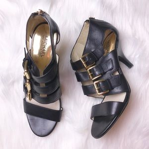 Worn once Michael Kors leather buckle heels